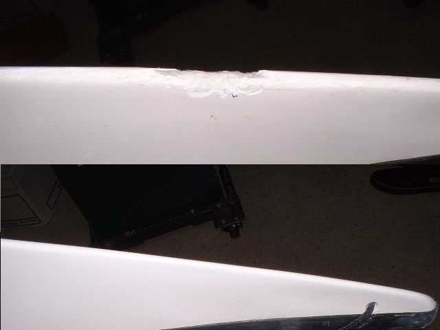 Comparison of repaired gelcoat on a kayak bow with the original damage