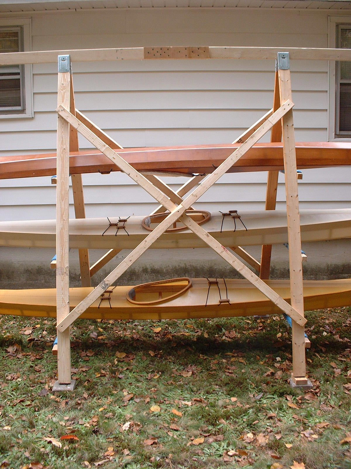 A Closeup View Of The Construction An Frame Kayak Rack