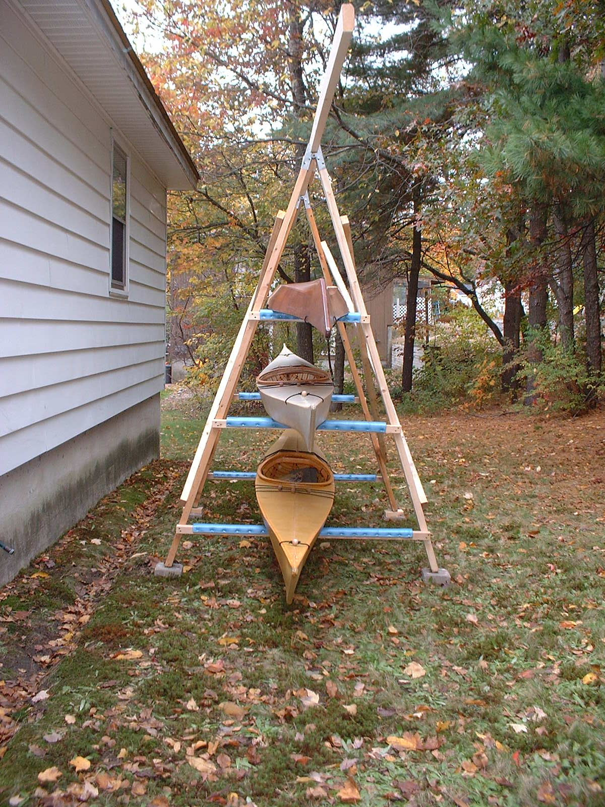 End view of A-frame kayak rack, showing the capacity