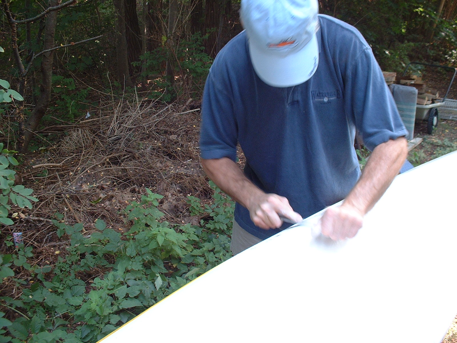 Removing damage fiberglass from the kayak hull